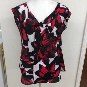 Red & Black Floral Blouse